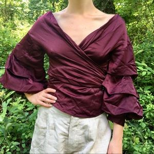 Tiered Sleeve Ruby Red Satin Silky Surplice Top